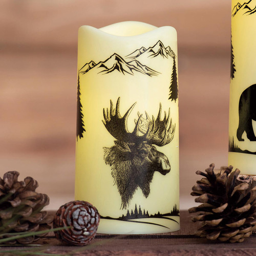 Forest Wildlife Moose LED Candle