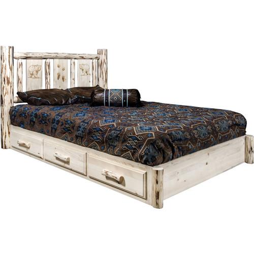 Frontier Platform Bed w/Storage & Engraved Bears