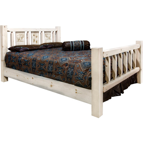 Ranchman's Bed with Laser-Engraved Bear Design