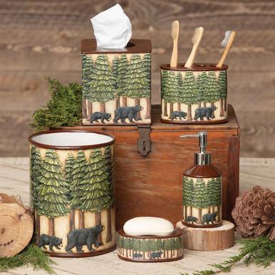 Bear & Pine Trees Bath Accessories