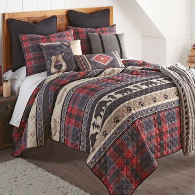 Black Bear Ridge Plaid Quilt Bedding Collection