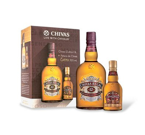 WHISKY ESCOCES CHIVAS 12 AOS + PETACA CHIVAS EXTRA 200 ML - IBP-2435
