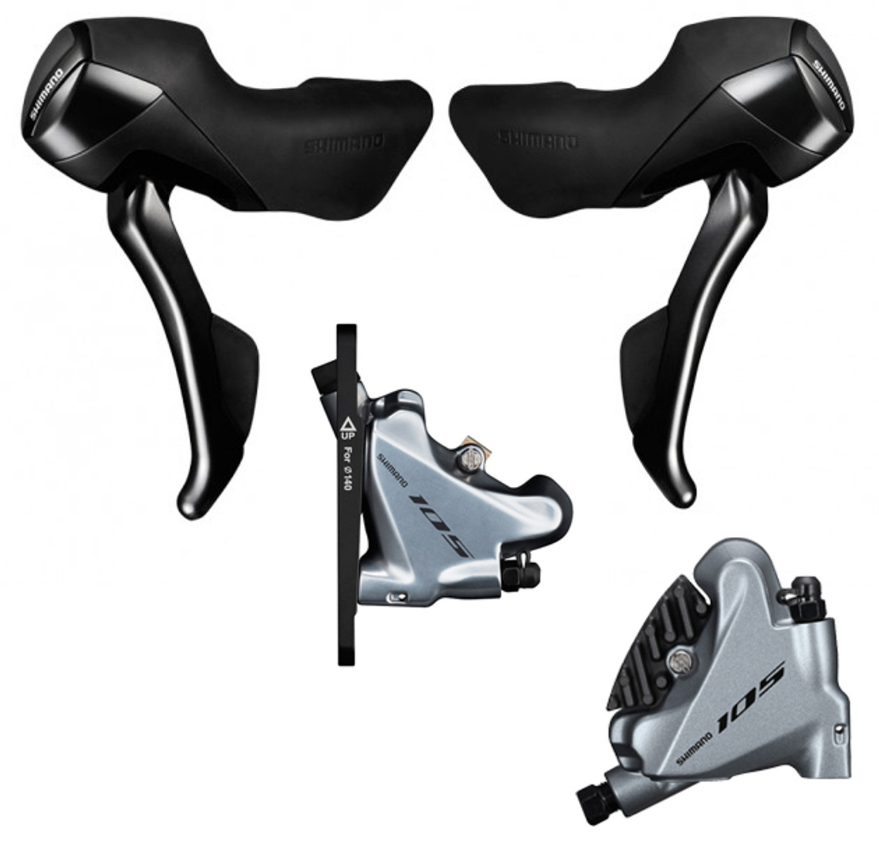 Black ST-R7020 Hydraulic Disc Brake Set Shimano 105 2x11-Speed BR-R7070