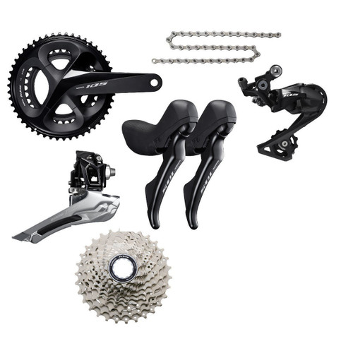 Shimano 105 R7020 Hydraulic Flat Mount STI Groupset (less calipers), black