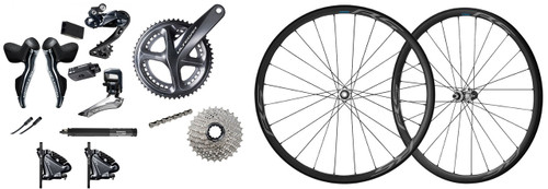 Shimano Ultegra R8070 Hydraulic Flat Mount Di2 Groupset with Shimano Ultegra RS700 C30 Wheelset
