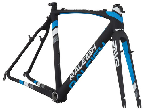 Raleigh RXC Cantilever Carbon Frameset, White, Silver & Blue Accents