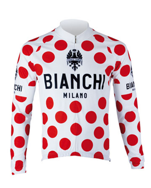 Bianchi Pride Long Sleeve Jersey, White Polka Dot