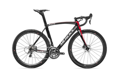Eddy Merckx 525 Endurance Disc Shimano Di2 equipped Carbon Bicycle, Black Anthracite & Red Gloss Accents - Build It Your Way
