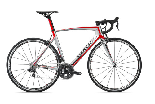 Eddy Merckx San Remo 76 SRAM eTap equipped Carbon Bicycle, Silver, Red & Black Accents - Build It Your Way