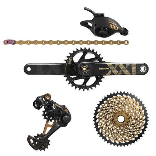 SRAM XX1 Eagle DUB Sync 2 Carbon Crankset, Black & Gold | XX1 Drive Train Trigger Shifter Upgrade Kit, Black & Gold