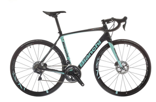 Bianchi C2C Infinito CV Disc SRAM eTap Hydraulic equipped Carbon Bicycle, Black & Celeste - Build It Your Way