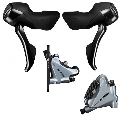 Shimano 105 ST-R7020 Hydraulic STI Levers, Hoses and BR-7070 Flat Mount with Silver Brake Calipers