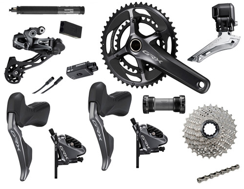 Shimano GRX RX815 Hydraulic Flat Mount Di2 2 Ring Crankset Groupset