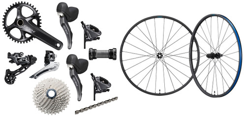 Shimano GRX RX810 Hydraulic Flat Mount STI 1 Ring Crankset Groupset with a Shimano GRX RX570 Disc-brake Wheelset, 700c