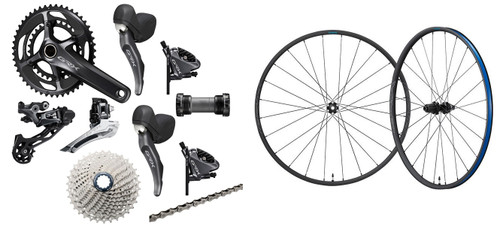 Shimano GRX RX810 Hydraulic Flat Mount STI 2 Ring Crankset Groupset with a Shimano GRX RX570 Disc-brake Wheelset, 700c