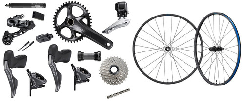 Shimano GRX RX817 Hydraulic Flat Mount Di2 1 Ring Crankset Groupset with a Shimano GRX RX570 Disc-brake Wheelset, 700c
