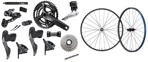 Shimano GRX RX815 Hydraulic Flat Mount Di2 2 Ring Crankset Groupset with a Shimano GRX RX570 Disc-brake Wheelset, 700c