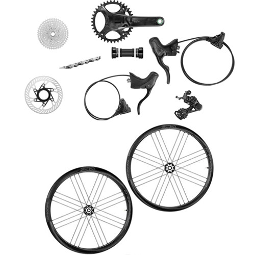 Campagnolo EKAR Hydraulic Flat Mount Ergo 13 Speed Groupset with a Campagnolo Shamal Carbon, 2-Way Fit, Disc-brake Wheelset - 500