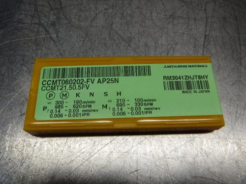 Mitsubishi Cermet Inserts QTY10 CCMT060202-FV / CCMT21.50.5FV AP25N (LOC2676A)
