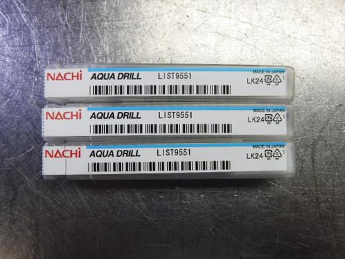 """Nachi Aqua Drill 3/16"""" Solid Carbide Drill Coolant Thru QTY3 L9551 (LOC1734)"""