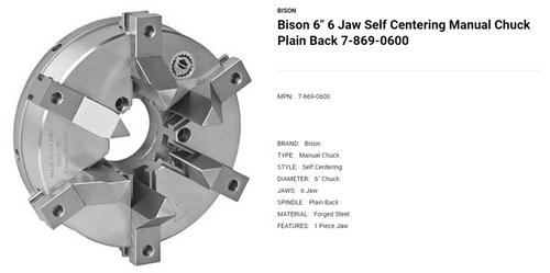 "Bison 6"" 6 Jaw Self Centering Manual Lathe Chuck 7-869-0600 (LOC1913B)"