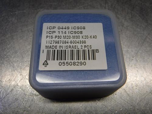 "Iscar 0.449"" Carbide Drill Inserts QTY2 ICP 0449 / ICP 114 IC908 (LOC1933B)"