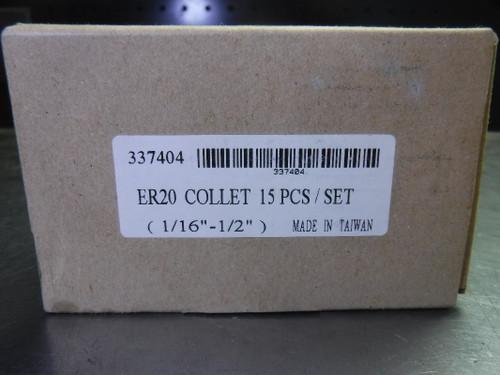 """GS ER20 15 pcs Collet Set (1/16"""" - 1/2"""") 337404 (LOC2726A)"""