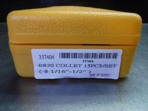 """GS ER20 15 pcs Collet Set (1/16"""" - 1/2"""") with Case 337404 (LOC1549)"""
