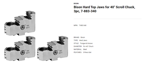 """Bison Hard Top Jaws for 40"""" Scroll Chuck 3 Piece Set 7-883-340 (LOC1913B)"""