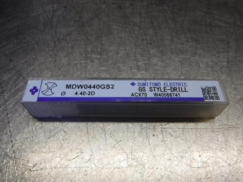 Sumitomo 4.4mm 2 Flute Carbide Drill 5mm Shank MDW0440GS2 (LOC472)