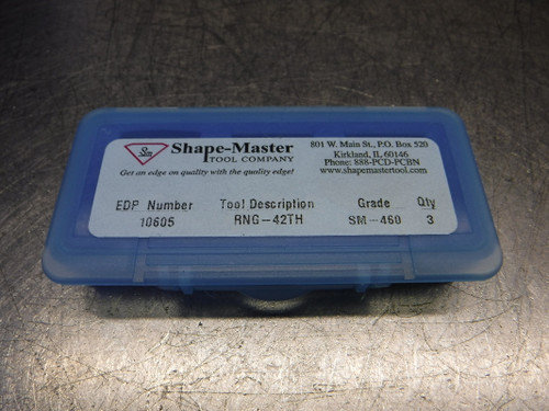 Shape-Master Solid CBN Inserts QTY3 RNG-42 TH SM-460 (LOC602)