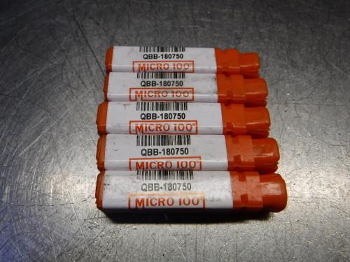 "Micro 100 0.18"" Carbide Boring Bar 1/4"" Shank QTY5 QBB-180750 (LOC684)"
