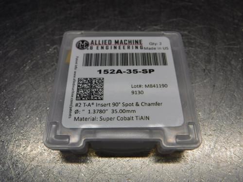 AMEC #2 T-A 35mm Super Cobalt Spade Drill Inserts QTY2 152A-35-SP (LOC2033B)