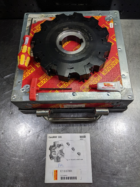 "Sandvik 8"" Indexable Slot Milling Cutter 2"" Arbor N331.52-203T51MM (LOC2868B)"