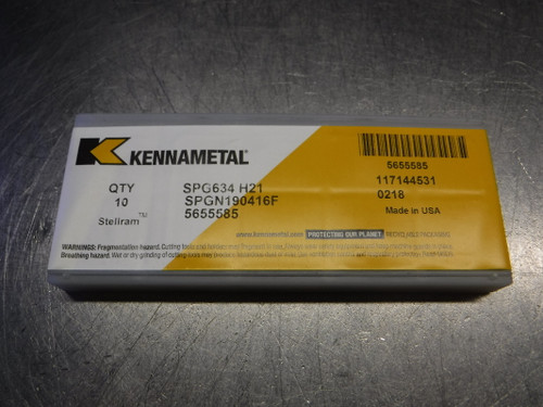 Kennametal Carbide Inserts QTY10 SPG634 / SPGN190416F H21 (LOC2078D)