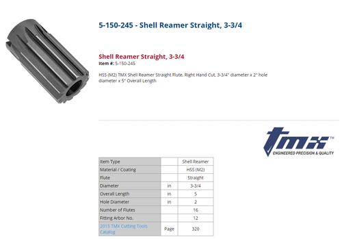 "ToolMex 3.75"" HSS M2 Straight Shell Reamer 5-150-245 (LOC1913A)"