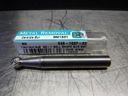 """Metal Removal 1/4"""" Carbide Ball Shape Bur 1/4"""" Shank 048-1037-20 (LOC833B)"""