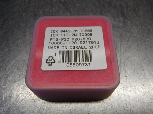 "Iscar 0.445"" Carbide Drill Tip Inserts QTY2 ICK 0445-2M IC908 (LOC1978D)"