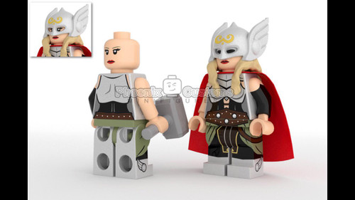 Custom Minifigures Phoenix Customs Lady Hammer Wielder