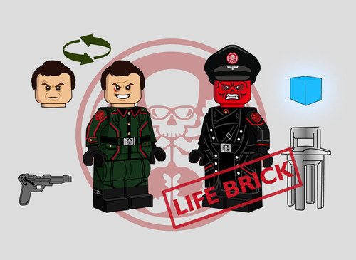 Custom Minifigures Life Brick Red Skull Set