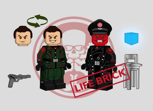 Custom Minifigures Life Brick Red Skull Set