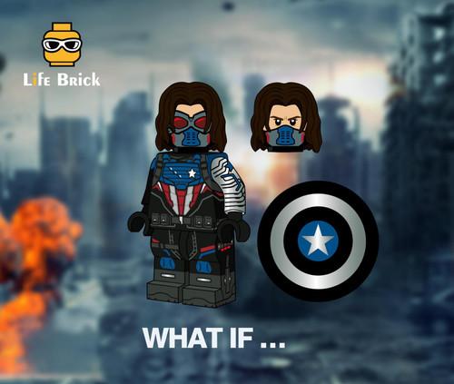 Custom Minifigures Life Brick Winter Soldier Captain Version