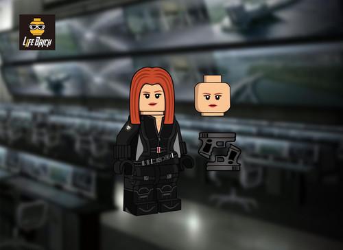 Custom Minifigures Life Brick Black Widow