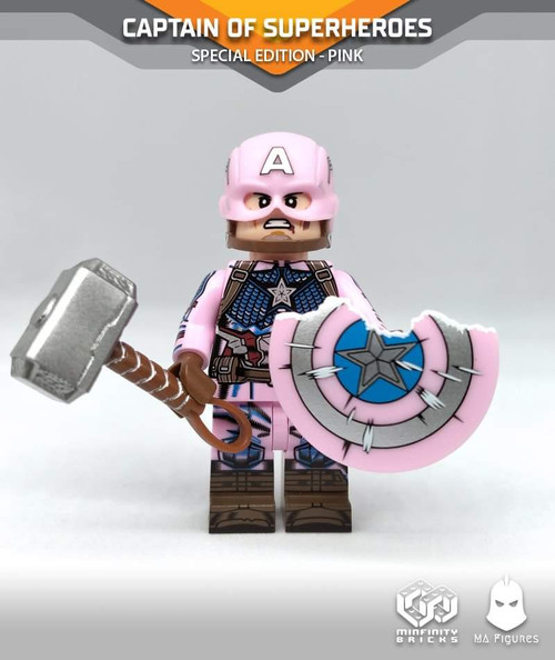 Custom Minifigures Minfinity MA Figures Captain of Super Heroes in Pink Edition