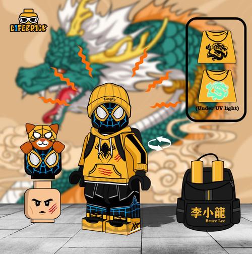 Custom Minifigures Life Brick Miles 2.0 Bruce Lee Spidey