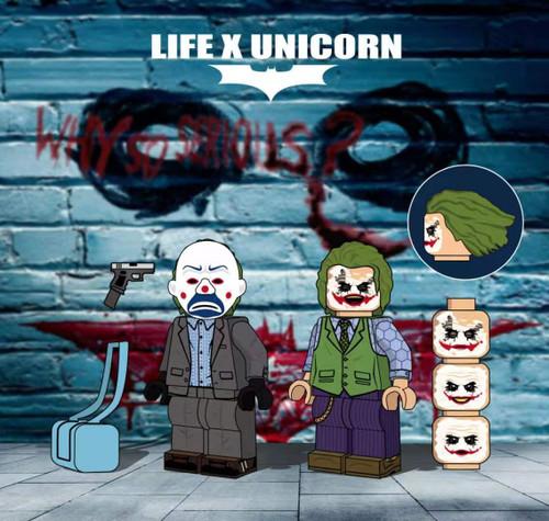 Custom Minifigures Life Brick Knight Joker Set
