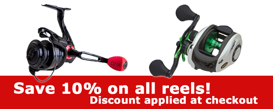 Save 10% on all fishing reels!