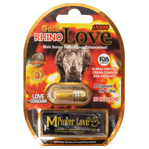 Rhino Love with Condom Gold 18000 Front