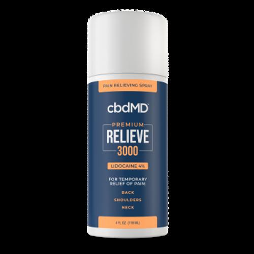 CBDMD Relieve Lidocaine Spray 4oz 3000mg