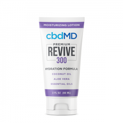 cbdMD's Revive moisturizing CBD lotion combines deep hydration from natural moisturizers with the benefits of topical CBD in a convenient squeeze tube. PRCBD